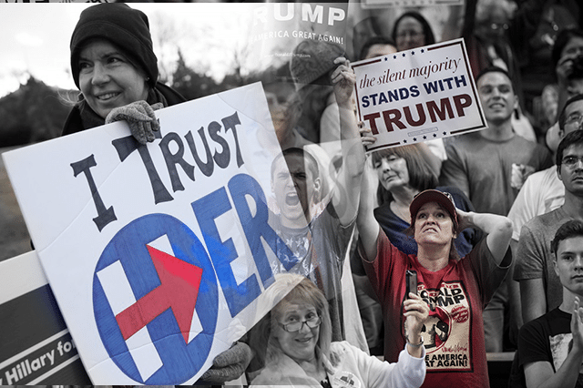 What divides Clinton vs. Trump Supporters?